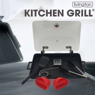 LIVINGTON Kitchen Grill Low Fat Set - 4 in 1 Indoor Grill...