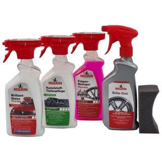 NIGRIN Autopflegeset Brilliant-Glanz Kunststoff-Tiefenpflege Felgen Reiniger Turbo Reifen Glanz