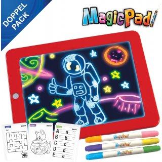 2x Magic Pad – Zaubertafel mit 6 Neonfarben und 8 Leuchteffekten – Kreative Beschäftigung für Kinder, auch unterwegs – Maltafel mit 30 Schablonen, abwischbar