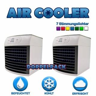 2x Mini Air Cooler 3in1 Luftkühler Klimagerät Tisch Luftkühler Luftbefeuchter Raumluftkühler Klimaanlage | Luftkühler | Luftreiniger USB LED Wasserkühler