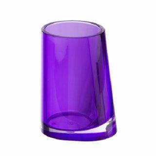 WENKO 20240100 Zahnputzbecher Paradise Purple - Zahnbürstenhalter für Zahnbürste und Zahnpasta, Acryl, 8  x 11 x 6,7 cm, lila