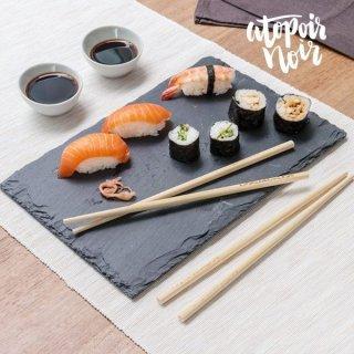 Sushi-Set mit Schieferplatte & Schaumstofffüßen, 7-teilig