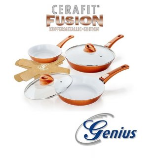 GENIUS Cerafit Fusion Pfannen Set 7 tlg Kupfermetallic