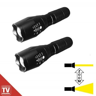 Tac Light 2 Stück LED Taschenlampe schwarz Zoomfunktion 5 Lichtmodi Mediashop