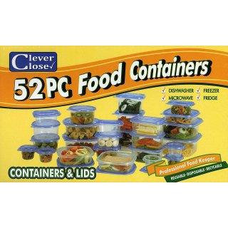 Clever Close 52-teiliges Frischhaltedosenset mit Deckel 26 Dosen Mikrowellengeeignete Einfrierdosen Einfrieren Kühlschrank